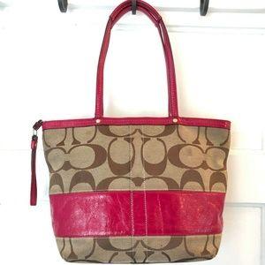 COACH Signature Stripe Red Patent Leather Tote